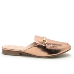 Qupid | Regent Metallic Rose Gold Mule Loafer